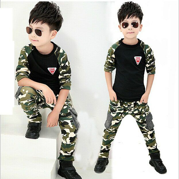 2016 New Camouflage Kids Clothing Set for Boys&Girls Spring&Autumn Cotton Camo Boys Sports Set Active Girls Clothing Sets,