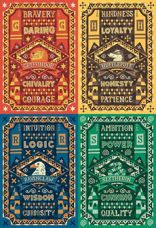 Hogwarts Houses On Behance Harry Potter Poster Harry Potter Wallpaper Harry Potter Drawings
