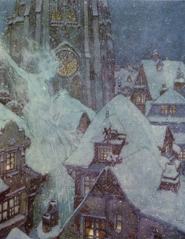 Snow Queen flies on winter night    The Snow Queen  Edmund Dulac illustration