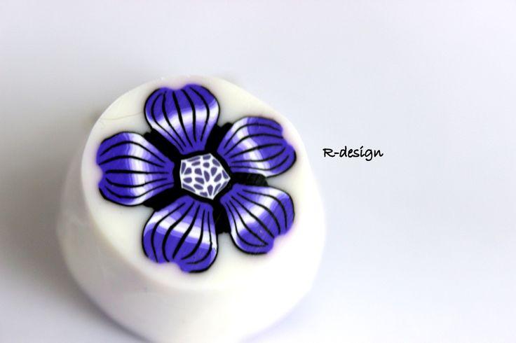 Polymer clay cane purple flower handmade millefiori cane R-design