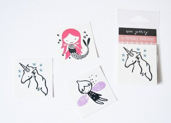 These 12 Fantasy temporary tattoos from Wee Gallery are great, really cool skin decorations. The pack contains 4 tattoos of a unicorn, fairy and mermaid. These make great stocking fillers and birthday party favours - £4.80 | Birdkids | Wee Gallery