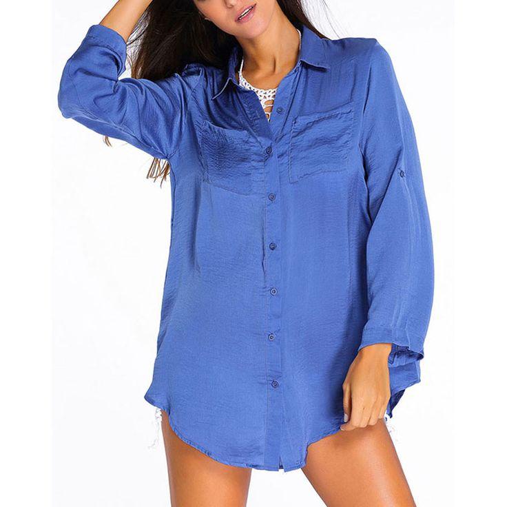 2016 New UV Long Sleeve Blue Shirt Style Loose Fake Soft Fabric Skirt Sea Beach Dress Summer Sunscreen Bikini Set Cover Up