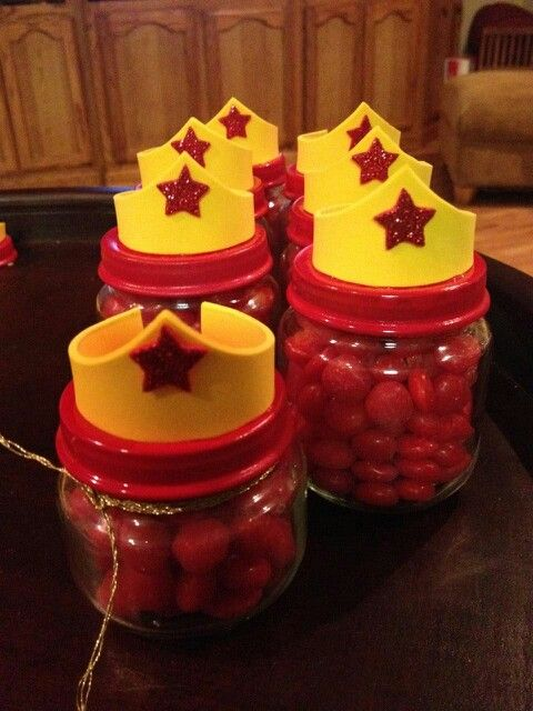 Wonder Woman favors from my Lil Love's One-der Woman Birthday Bash made out of Baby food jars. Homemade by my sister and me.-£H