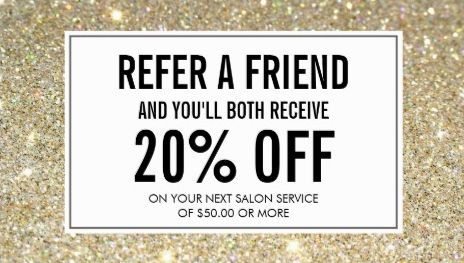 Modern Gold Glitter Salon Referral and Discount Business Cards http://www.zazzle.com/gold_glitter_salon_referral_card_double_sided_standard_business_cards_pack_of_100-240204880742811461?rf=238835258815790439&tc=GBCReferal1Pin