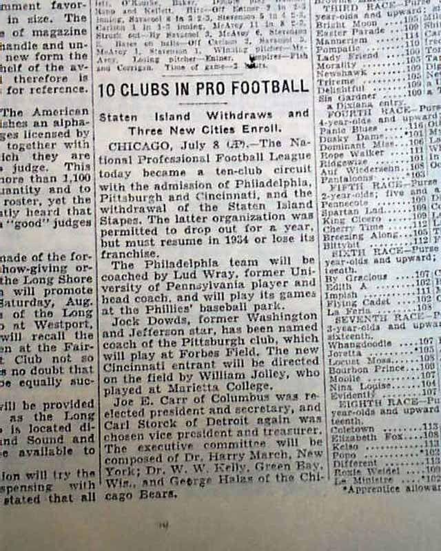 PITTSBURGH STEELERS & Philadelphia Eagles NFL Football Franchises 1933 Newspaper