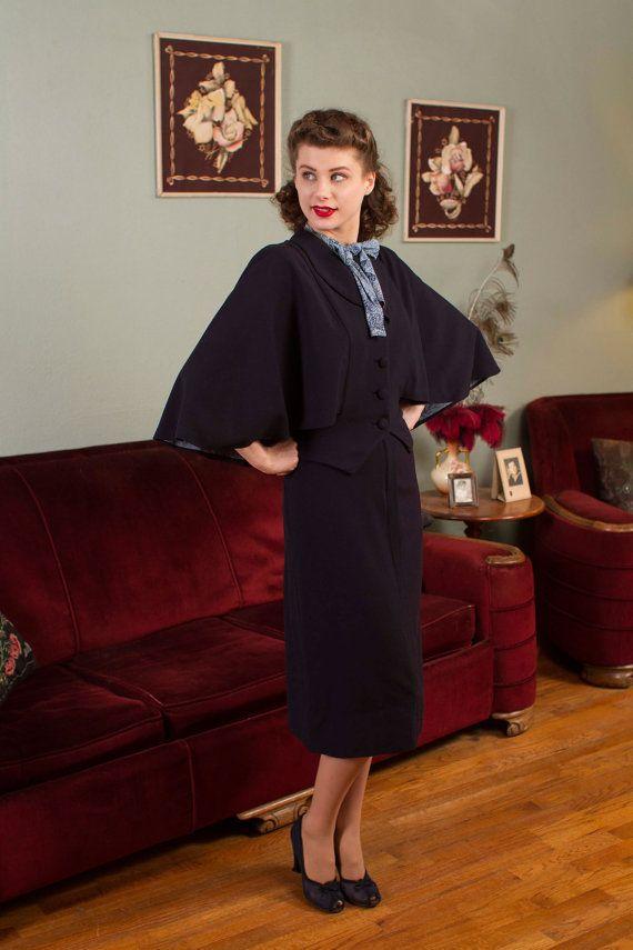 Vintage 1940s Dress Set Killer Rayon Print Two Tone by FabGabs