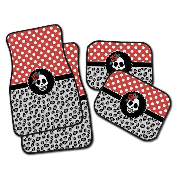 Rockabilly Car Mats Set of 4 Floor Mats for your car by InkandRags