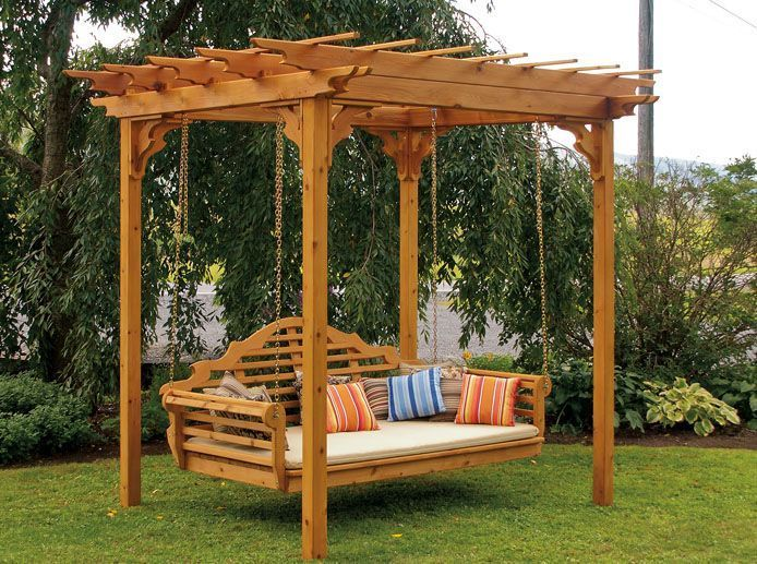 75 Western Cedar Swing Bed Great For Outdoor Relaxation In The Back Yard Or Patio Pictured With A 8x8 Cedar P In 2020 Pergola Patio Backyard Pergola Pergola Swing