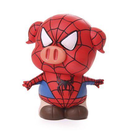 Cofre Real Arte Porquinho Homem Aranha Colorido - Marca Real Arte