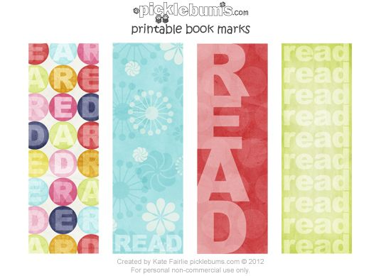 And just to celebrate how cool reading is, and as a treat for my book mad girls, I've made some simple printable bookmarks.