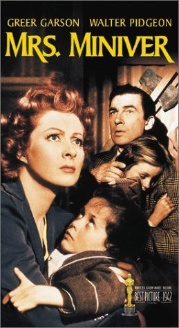 """Greer Garson and Walter Pidgeon in 'Mrs. Miniver', 1942.  The Minivers, an English """"middle-class"""" family experience life in the first months of World War II. While dodging bombs, the Miniver's son courts Lady Beldon's granddaughter. A rose is named after Mrs. Miniver and entered in the competition against Lady Beldon's rose."""