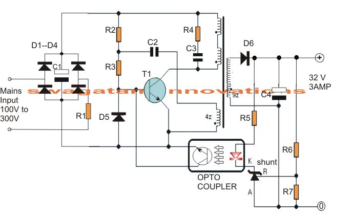 32V, 3 amp SMPS circuit which may be particularly utilized