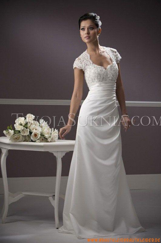 Kurze  Ärmel Kolumne Günstige Elegante Brautkleider aus Satin