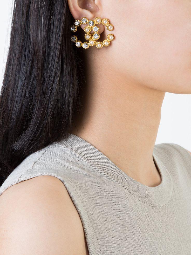 Chanel Vintage CC logo rhinestone pearl earrings | Fashion ...