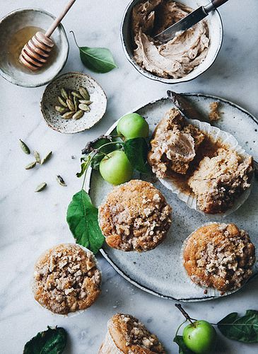 Spiced Apple Muffins with Streusal Topping & Cinnamon Honey Butter