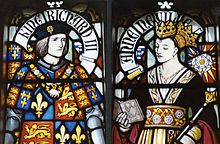 Stained glass depiction of Richard III and Anne Neville in Cardiff Castle.