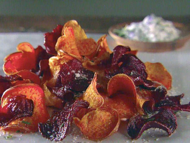 Sweet Potato and Beet Chips with Garlic Rosemary Salt from FoodNetwork.com. Making this tomorrow with off the bone ribs