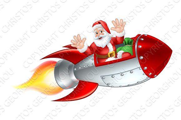 Santa Christmas Space Rocket Sled In 2020 Space Rocket Santa Santa Christmas