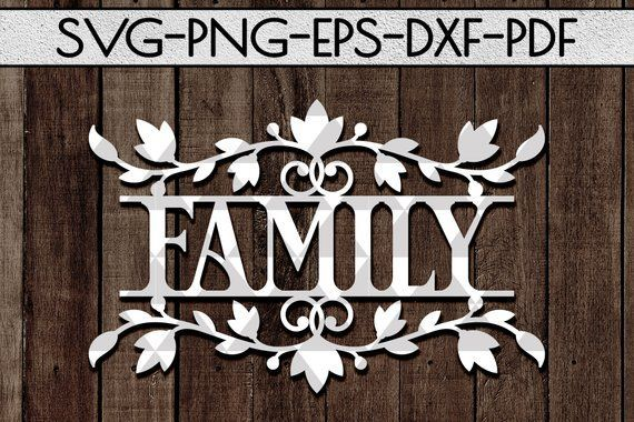 Family wreath papercut cutting file, door hanger sign svg, family paper art, home decor svg, rustic designs, wood sign svg, cricut, dxf, pdf