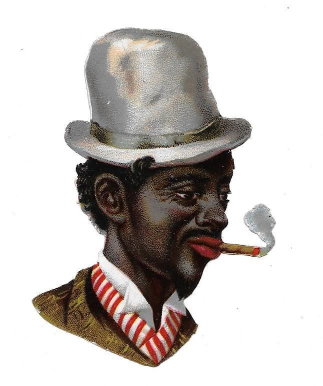 Victorian Die Cut Scrap Cool Dude ca. 1880s:
