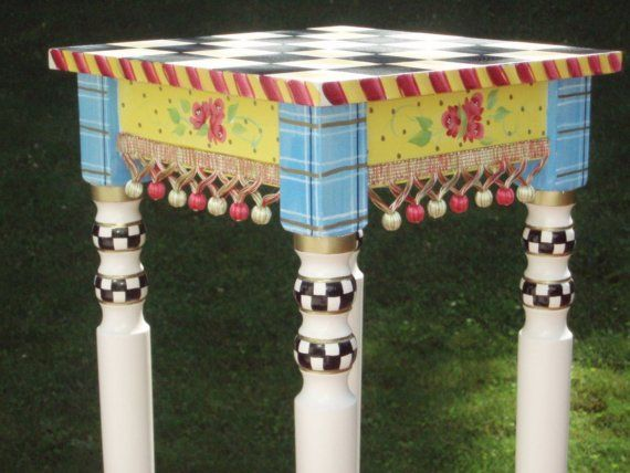 whimsy furniture. hand painted black and white checked table whimsy furniture