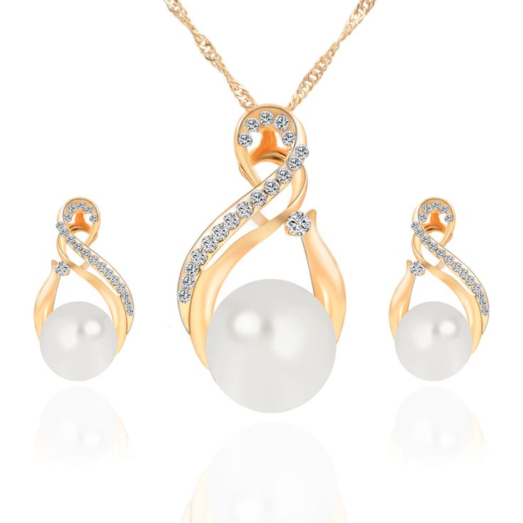 New Arrival Gold-color Simulated Pearl Jewelry Sets for Women Vintage Bridal Wedding Rhinestone Necklace Earrings Set
