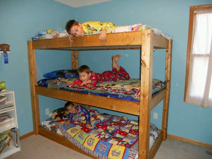 A triple bunk bed. Gonna have to design my son one and find aomeone to build it for cheap