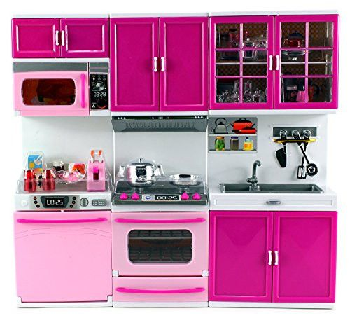My Happy Kitchen Dishwasher Oven Sink Battery Operated Toy Doll Kitchen Playset w/ Lights, Sounds, Perfect for Use with 11-12 Tall Dolls