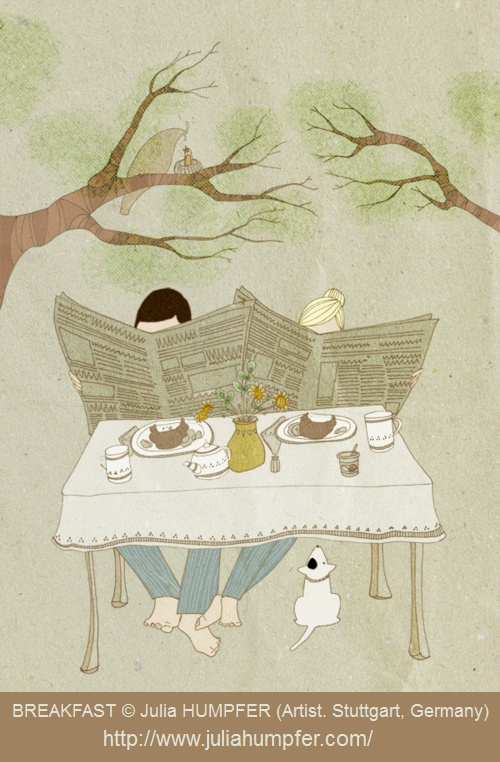 BREAKFAST al fresco © Julia HUMPFER (Artist. Stuttgart, Germany). Her website: http://www.juliahumpfer.com/ Her shop:  www.etsy.com/shop/herbstkind Sunday Morning Outdoors, Breakfast Table,  Croissant, Couple Reading Newspaper, Pet Dog. [Do not remove. Caption required by law.] COPYRIGHT LAW: http://pinterest.com/pin/86975836525792650/  PINTEREST on COPYRIGHT:  http://pinterest.com/pin/86975836526856889/ The Golden Rule: http://www.pinterest.com/pin/86975836527744374/