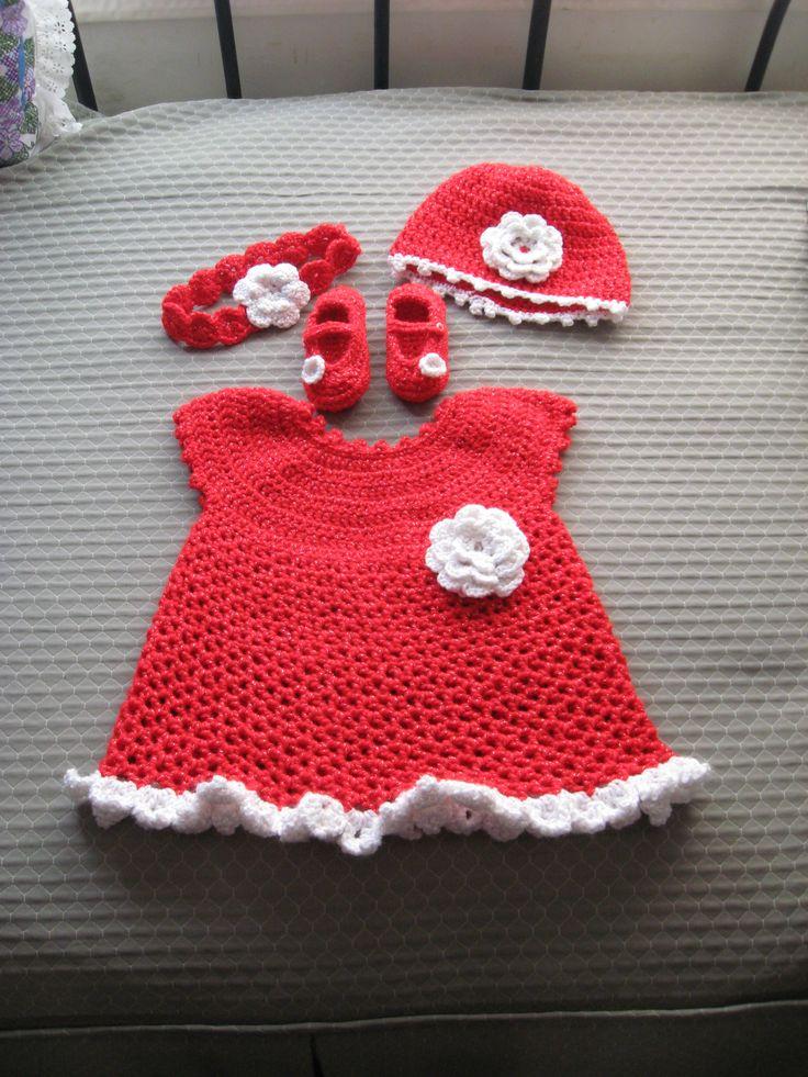 Crocheted dress, hat, Mary Janes and headband for Clara.
