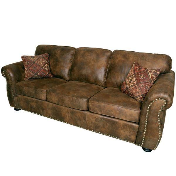 Modern Sectional Sofas Porter Elk River Brown Microfiber Faux Suede Leather Sofa with Woven Accent Pillows