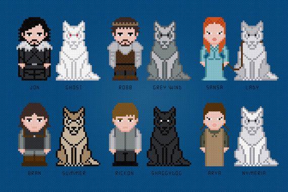 He encontrado este interesante anuncio de Etsy en https://www.etsy.com/es/listing/183660635/the-starks-and-their-wolves-game-of