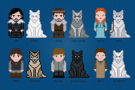 He encontrado este interesante anuncio de Etsy en https://www.etsy.com/es/listing/183660635/the-starks-and-their-wolves-game-of