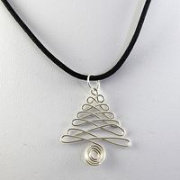 Wired Christmas Tree Pendant - Silver