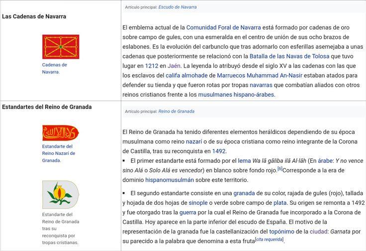 """Símbolos heráldicos de los Reinos Peninsulares Medievales: 1°.- CADENAS DE NAVARRA - """" Emblema de la Comunidad Foral de Navarra"""" ...... 2°- LAS BARRAS DE ARAGÓN, CUATRIBARRADA ó SEÑERA - """"Estandarte de la Corona de Aragón""""."""