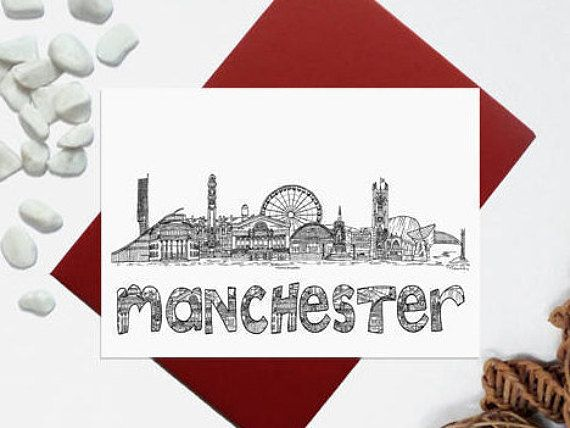 Manchester card  Manchester skyline landmark card  Black