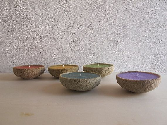 Five colored sand candles. by Rincondelcaracol on Etsy