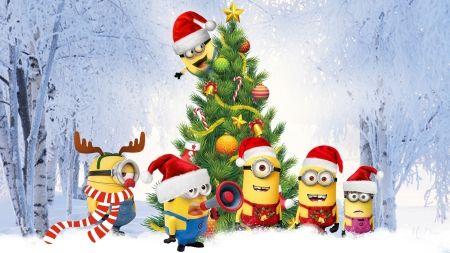 Minions Christmas Tree - snow, winter, Christmas, minions, Feliz Navidad, Despcable Me, tree, Santa hats
