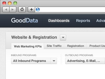 Nice top navigation bar for dashboards, reports, etc.