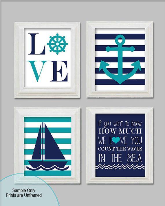 Digital files 11x14 Nautical Nursery Art Prints Little boy
