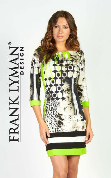 Frank Lyman Spring 2016. Gorgeous stylish knit dress in bright beautiful lime/black print (front/back). Very practical style with 3/4 sleeve, boat neck and fash