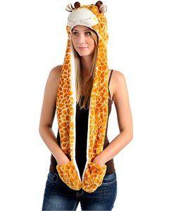 Plush Giraffe Hat, Mitten, Scarf 3 in 1 Fun  Order at http://amzn.com/dp/B009MOXK8O/?tag=trendjogja-20