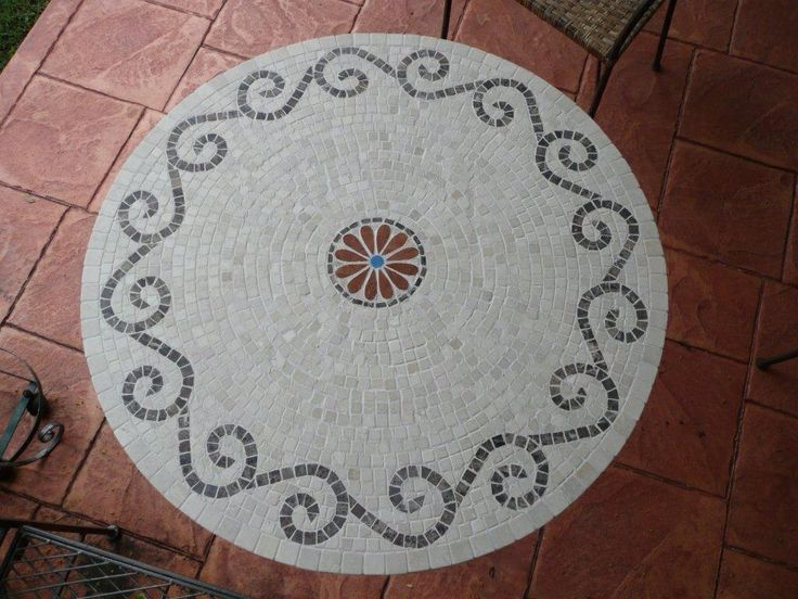Mosaic table. Marble and ceramic tile