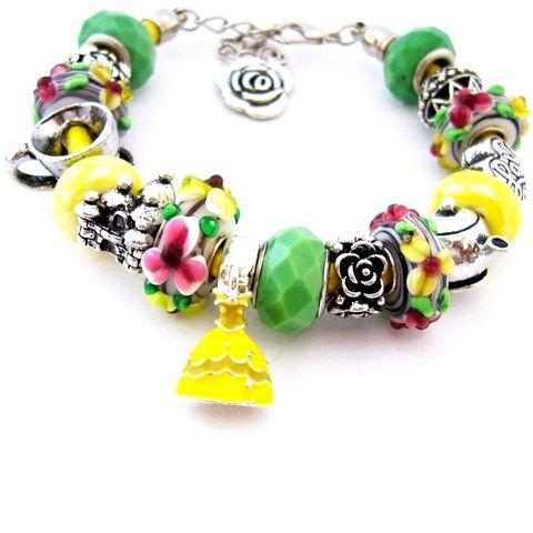 Belle - Szépség és a Szörnyeteg! - sárga és zöld virágos charm karkötő pandora stílusban Belle ruhájával és rózsával (ButterflyJew) - Meska.hu