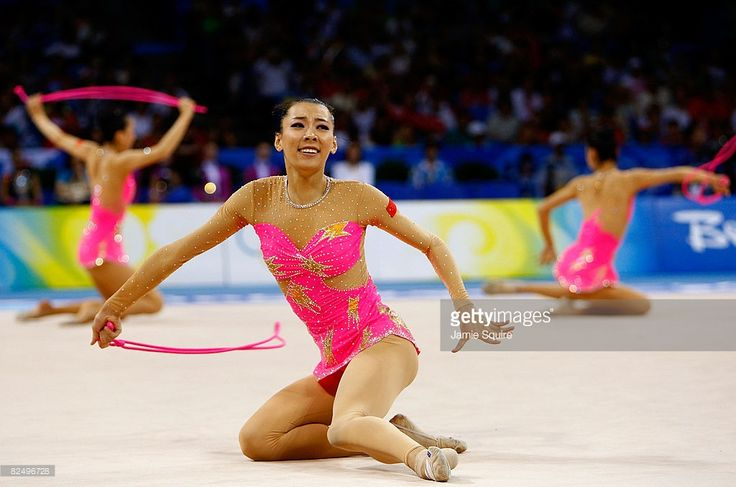 The Chinese team compete in the Group All-Around Qualification rhythmic gymnastics event held at the Beijing University of Technology Gymnasium during Day 13 of the Beijing 2008 Olympic Games on August 21, 2008 in Beijing, China.