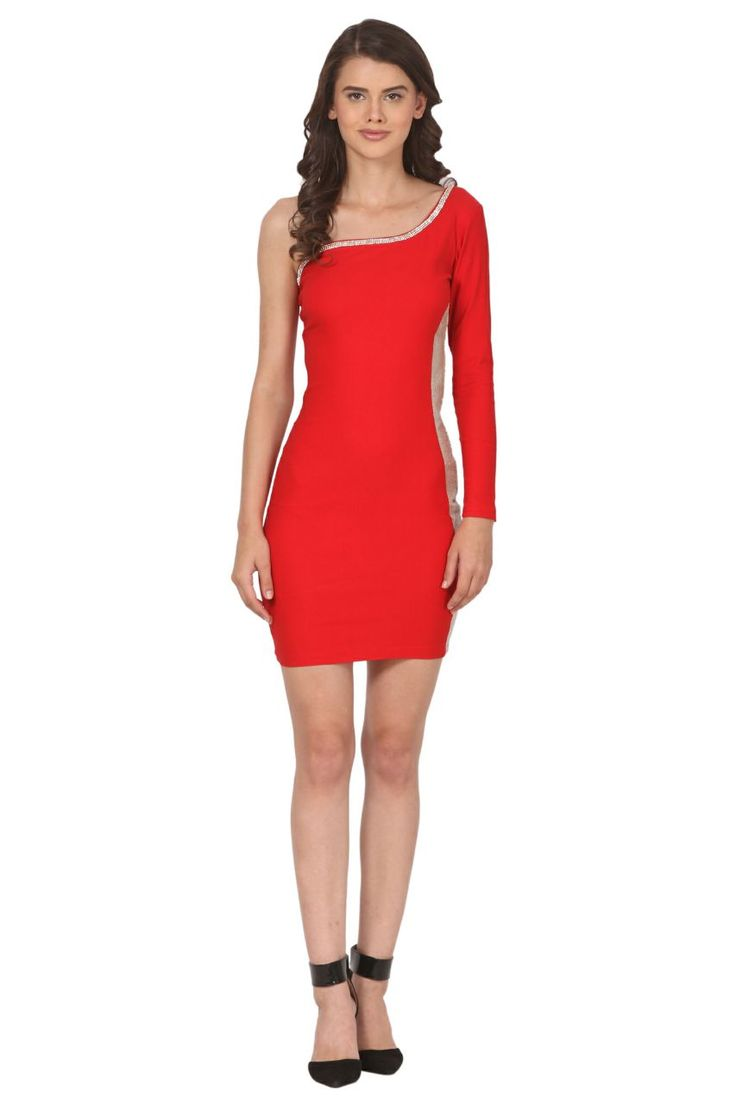 Red one piece one sided long sleeves best for party and valentine special