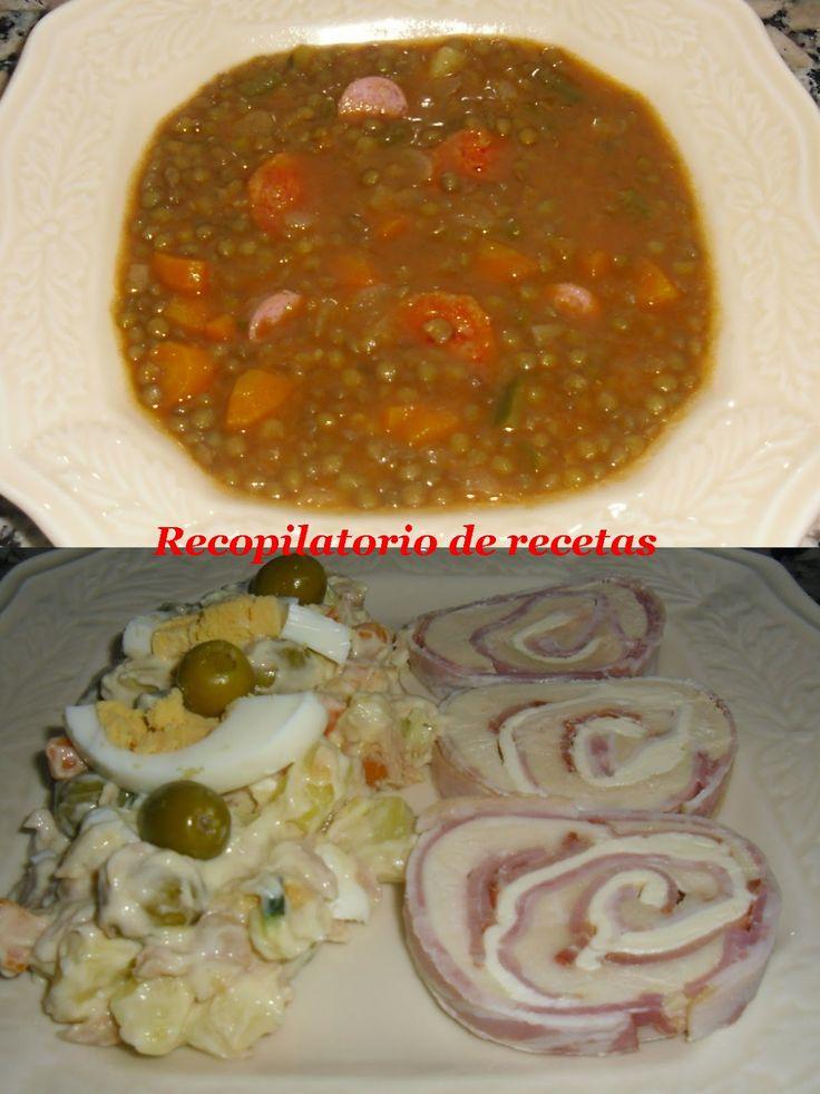 """Recopilatorio de recetas : Lentejas, rollo de pollo al vapor y ensaladilla rusa """"cocina en niveles"""" en Thermomix"""