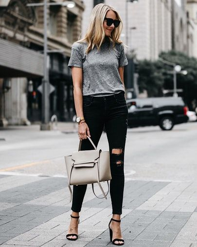 A casual tshirt, ripped jeans, and heels are an easy effortless outfit! // Shop your screenshot of this pic with the LIKEtoKNOW.it app @liketoknow.it http://liketk.it/2rZFk #liketkit #LTKunder50 #LTKunder100 #LTKstyletip