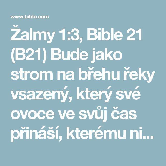 Žalmy 1:3, Bible 21 (B21) Bude jako strom na břehu řeky vsazený, který své ovoce ve svůj čas přináší, kterému nikdy neuvadne listí – cokoli činí, se podaří!