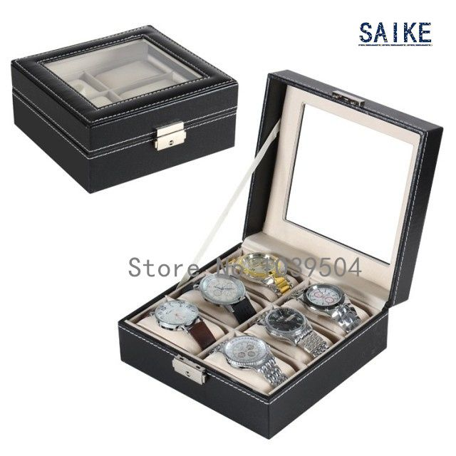 Square 6 Grids Watch Srorage Box Top Black Leather Watches Box  Fashion Brand Watch Display Box 6 Watch Gift Cases D167